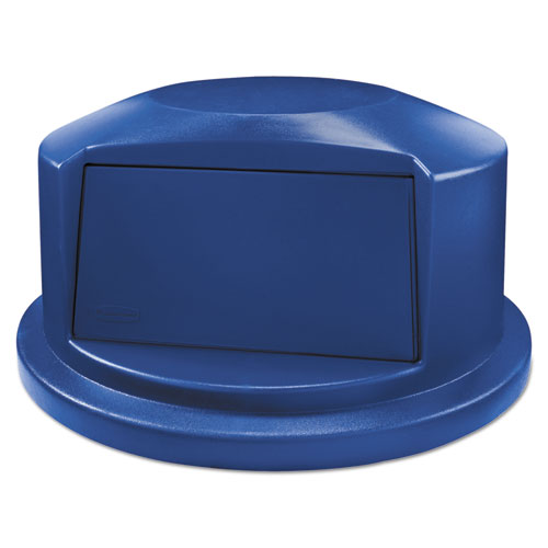 "Rubbermaid® Commercial Round Brute Dome Top Lid for 44gal Waste Containers, 24.81"" Dia, Blue"