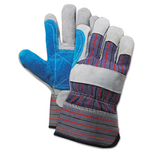 Cow Split Leather Double Palm Gloves, Gray/Blue, Large, 1 Dozen
