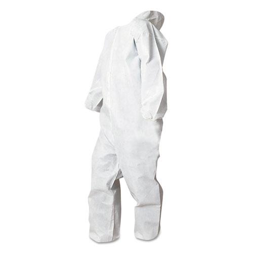 Disposable Coveralls, White, Large, Polypropylene, 25/Carton
