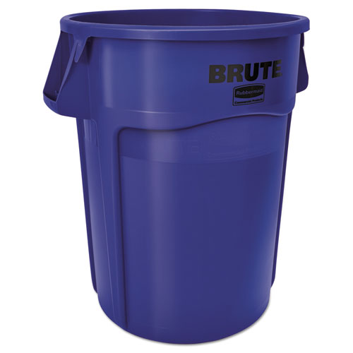 Rubbermaid® Commercial Vented Round Brute Container, 55 Gal, Blue, Resin, 3/Carton