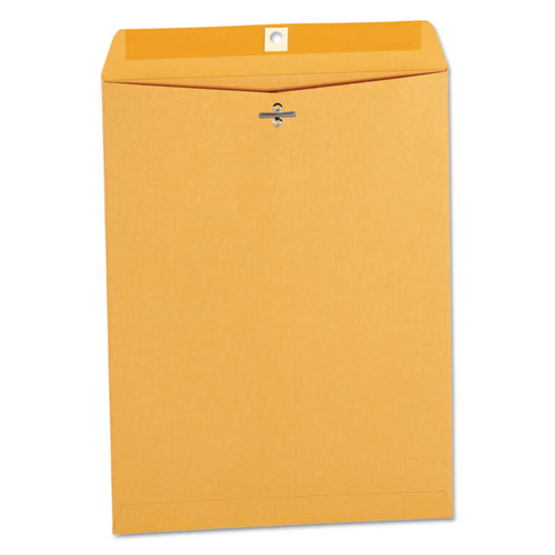 Kraft Clasp Envelope, #12 1/2, Squar Flap, Clasp/Gummed Closure, 9.5 x 12.5, Brown Kraft, 100/Box | by Plexsupply
