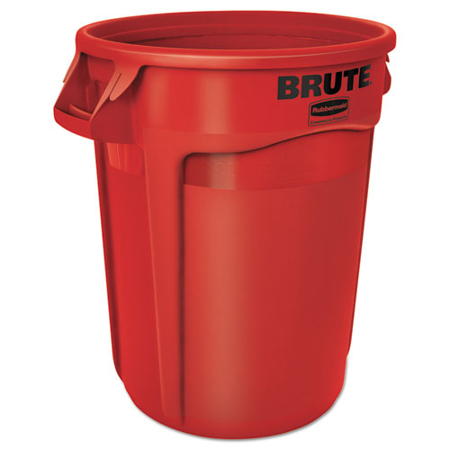 Rubbermaid® Commercial Round Brute Container, Plastic, 32 gal, Red