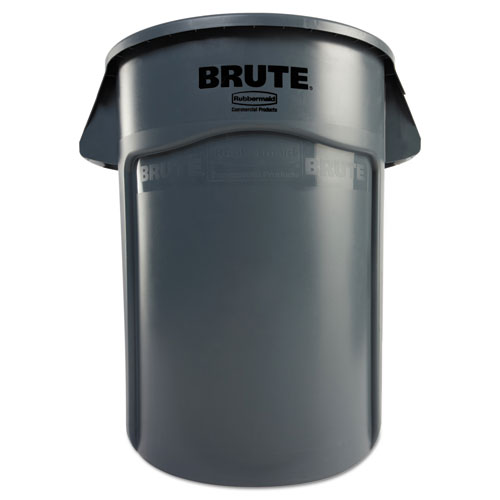 Rubbermaid® Commercial Brute Vented Trash Receptacle, Round, 44 gal, Gray