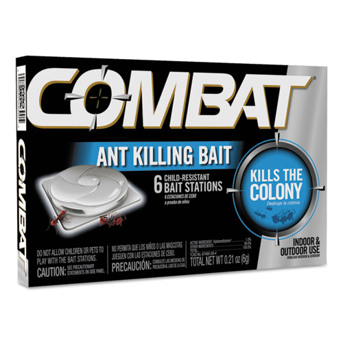 Combat Ant Killing System, Child-Resistant, Kills Queen & Colony, 6/Box | by Plexsupply