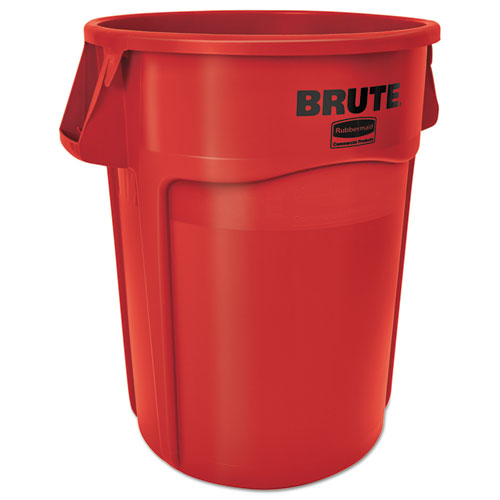 Rubbermaid® Commercial Brute Vented Trash Receptacle, Round, 44 gal, Red, 4/Carton