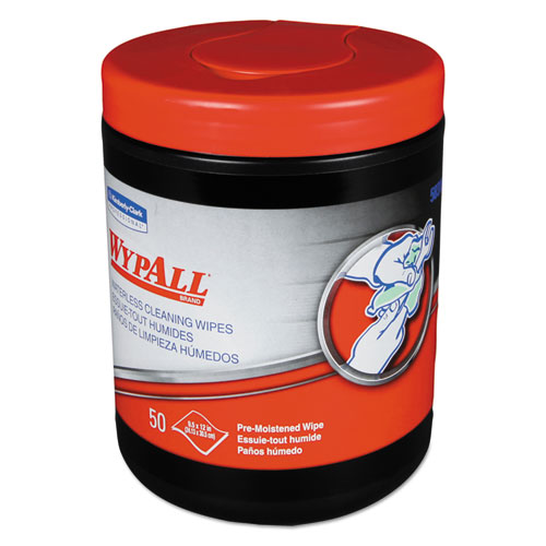 WypAll® Heavy-Duty Waterless Cleaning Wipes, 12 x 9 1/2, Green-White, 50/Canister, 8/CT