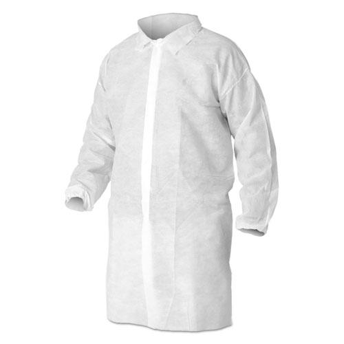 KleenGuard* A10 Light Duty Lab Coats, Large, White, 50/Carton
