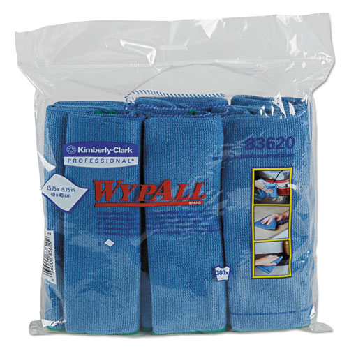 Microfiber Cloths, Reusable, 15 3/4 x 15 3/4, Blue, 24/Carton 83620CT