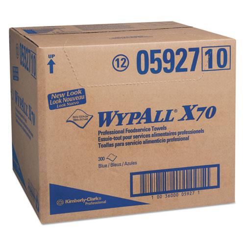 X70 Foodservice Towels, 1/4 Fold, 12 1/2 x 23 1/2, Blue, 300/Carton