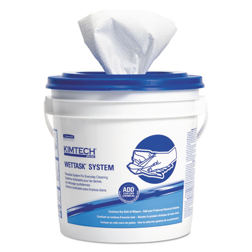 Wipers for WETTASK System, Bleach, Disinfectants and Sanitizers, 12 x 12.5, 90/Roll, 6 Rolls and 1 Bucket/Carton