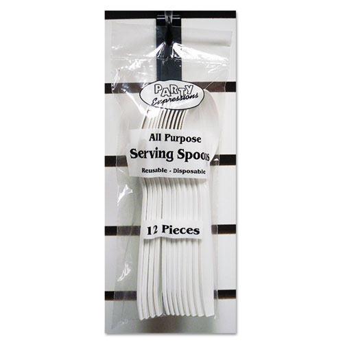 Serving Spoons, White, 9, 12/Pack