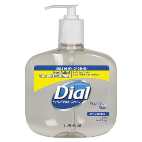 Dial® Professional Antimicrobial Soap for Sensitive Skin, 16oz Pump Bottle, 12/Carton