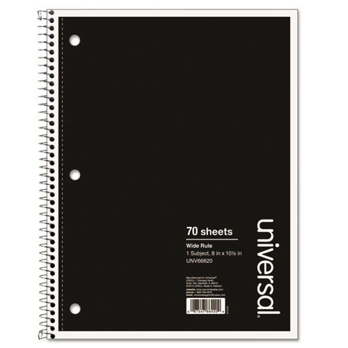 Wirebound Notebook, 1 Subject, Wide/Legal Rule, Black Cover, 10.5 x 8, 70 Sheets | by Plexsupply