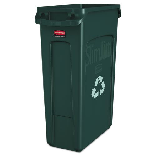 Rubbermaid® Commercial Slim Jim Recycling Container w/Venting Channels, Plastic, 23 gal, Blue