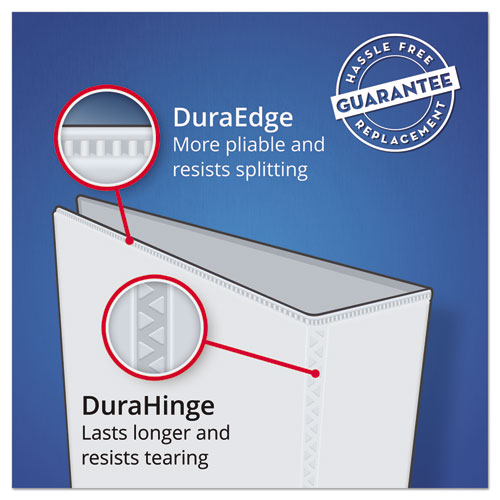 """Durable View Binder with DuraHinge and EZD Rings, 3 Rings, 4"""" Capacity, 11 x 8.5, White"""