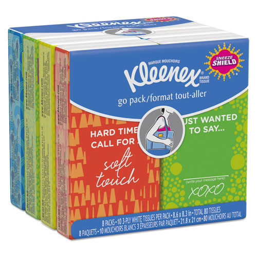 On The Go Packs Facial Tissues, 3-Ply, White, 10 Sheets/Pouch, 8 Pouches/Pack, 12 Packs/Carton
