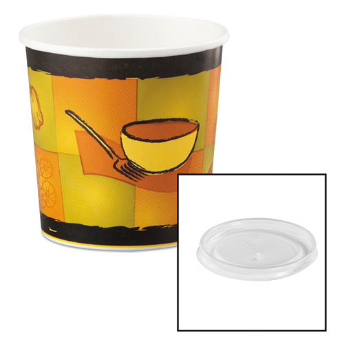 Huhtamaki Soup Food Containers w/Vented Lids, Streetside Pattern, 16 oz, 250/Carton