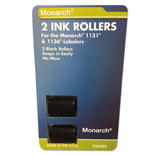 925403 Replacement Ink Rollers, Black, 2/Pack | by Plexsupply