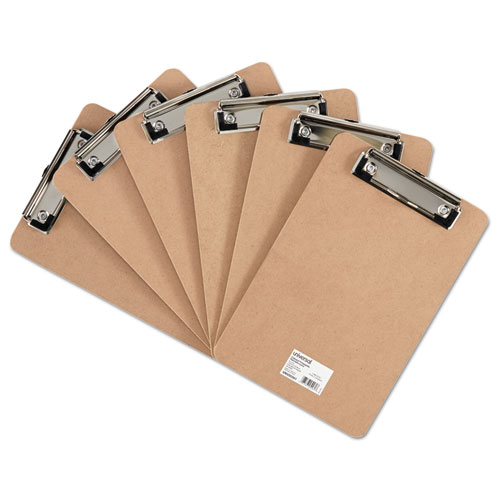 "Universal® Hardboard Clipboard with Low-Profile Clip, 1/2"" Capacity, 5 x 8, Brown, 6/Pk"
