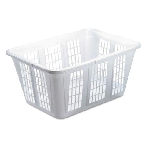 Laundry Basket, 1.6 bushels, 10.88w x 22.5d x 16.5h, Plastic, White, 8/Carton