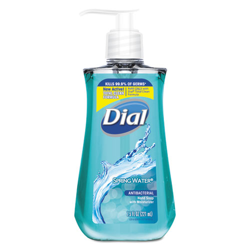 Dial® Antimicrobial Liquid Hand Soap, Spring Water, 7.5oz Bottle,12/CT