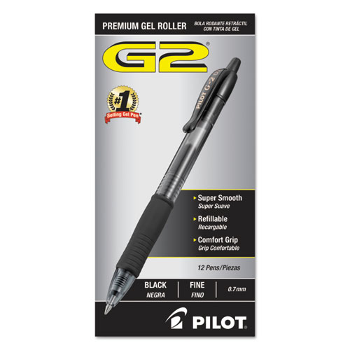G2 Premium Retractable Gel Pen, 0.7mm, Black Ink, Smoke Barrel, Dozen