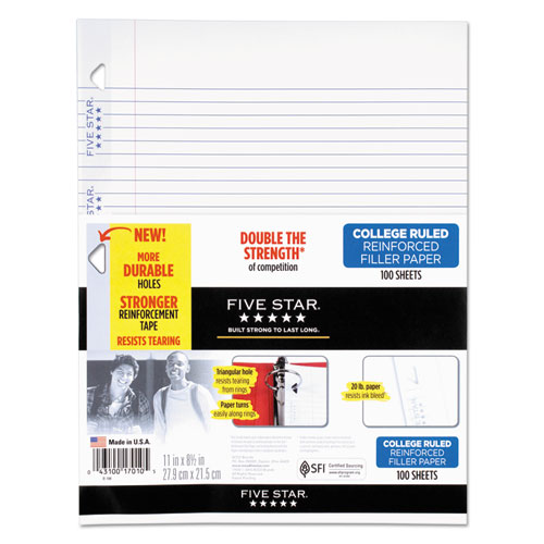 Reinforced Filler Paper, 3-Hole, 8.5 x 11, College Rule, 100/Pack