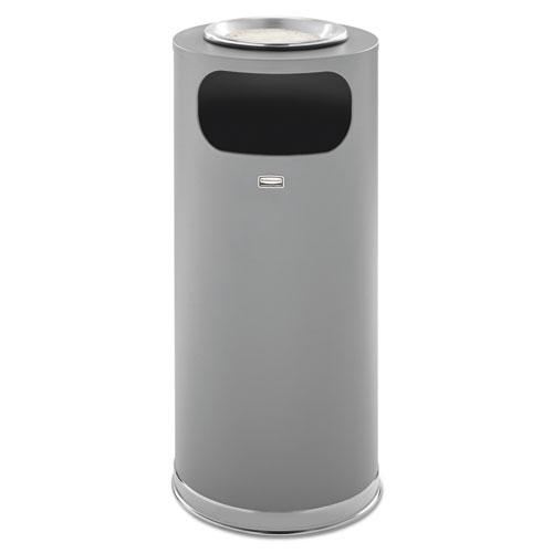 Rubbermaid® Commercial Metallic Series Ash/Trash Waste Receptacle, 15 gal, Grey w/Chrome Trim