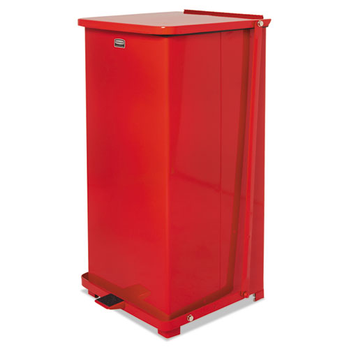 """Rubbermaid® Commercial Defenders Square Step Can, 24 gal, Red, 15"""" Square, 30"""" High"""