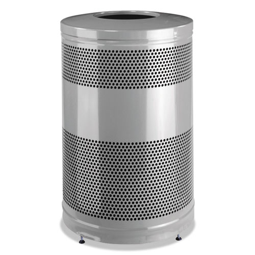 Rubbermaid® Commercial Classics Open Top Waste Receptacle, 51 gal, Stardust Silver Metallic with Black Lid