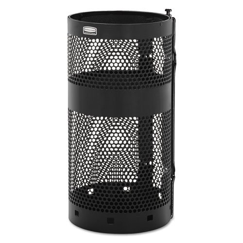 """Rubbermaid® Commercial Towne Pole Waste Receptacle With Wall Mount, 10 gal, Black, 13"""" Diameter"""