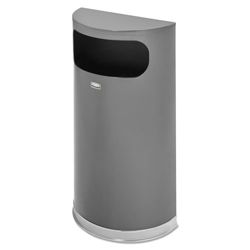 Rubbermaid® Commercial Half Round Flat Top Waste Receptacle, 9 gal, Anthracite Metallic w/Chrome Trim