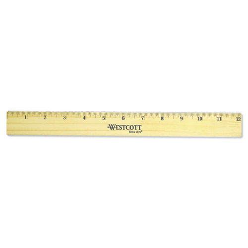 "Flat Wood Ruler w/Two Double Brass Edges, 12"", Clear Lacquer Finish 