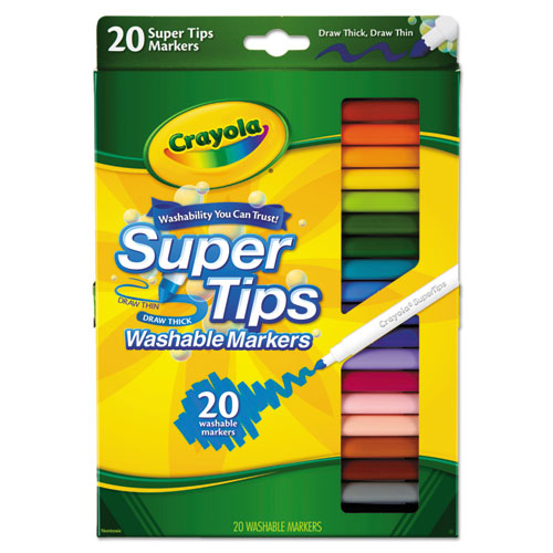 Washable Super Tips Markers, Broad/Fine Bullet Tip, Assorted Colors, | by Plexsupply