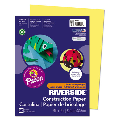 Riverside Construction Paper, 76lb, 9 x 12, Yellow, 50/Pack | by Plexsupply