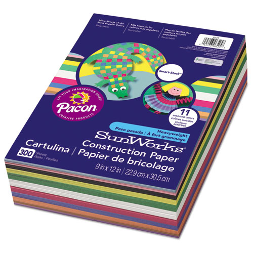 Construction Paper Smart-Stack, 58lb, 9 x 12, Assorted, 300/Pack | by Plexsupply