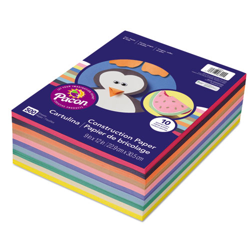 Rainbow Super Value Construction Paper Ream, 45lb, 9 x 12, Assorted, 500/Pack | by Plexsupply