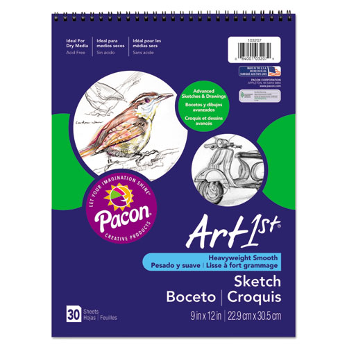 Art1st Artist's Sketch Book, 80 lb, 9 x 12, White, 30 Sheets | by Plexsupply