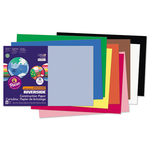 Riverside Construction Paper, 76lb, 12 x 18, Assorted, 50/Pack | by Plexsupply