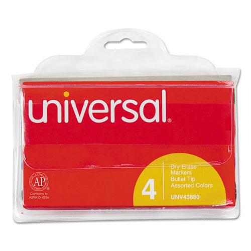 Dry Erase Markers, Bullet Tip, Assorted, 4/Set 43680