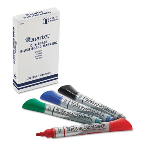 Premium Glass Board Dry Erase Marker, Broad Bullet Tip, Assorted Colors, 4/Pack