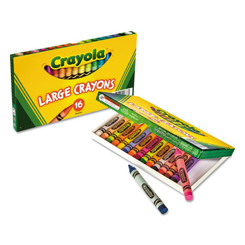 Crayola® Large Crayons, Tuck Box, 8 Colors/Box