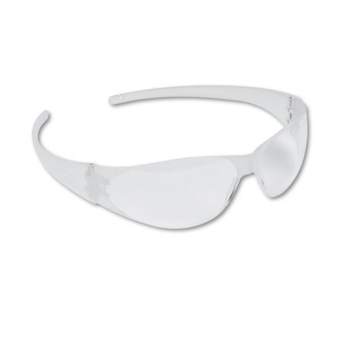 Checkmate Wraparound Safety Glasses, CLR Polycarb Frm, Uncoated CLR Lens, 12/Box