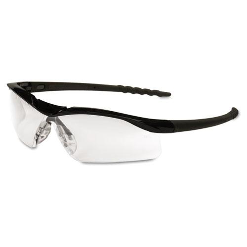 Dallas Wraparound Safety Glasses, Black Frame, Clear Lens DL110