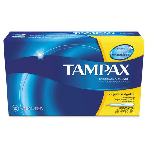 Tampax® Tampons, Original, Regular Absorbency, 10/Box, 48 Box/Carton