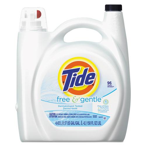 Tide® Free & Gentle Liquid Laundry Detergent, 150 oz Pump Bottle, 4/Carton