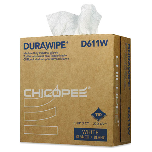 Chicopee® Durawipe Medium-Duty Industrial Wipers, 8.8 x 17, White, 110/Box, 12 Box/Carton