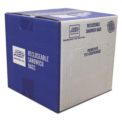 Recloseable Zipper Seal Sandwich Bags, 1.15 mil, 6.5 x 5.88, Clear, 500/Box