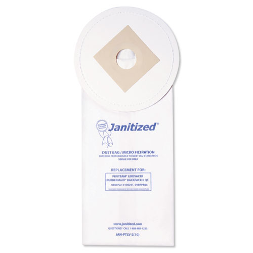 Janitized® Vacuum Filter Bags Designed to Fit ProTeam LineVacer/Rubbermaid 9VBP06, 100/CT