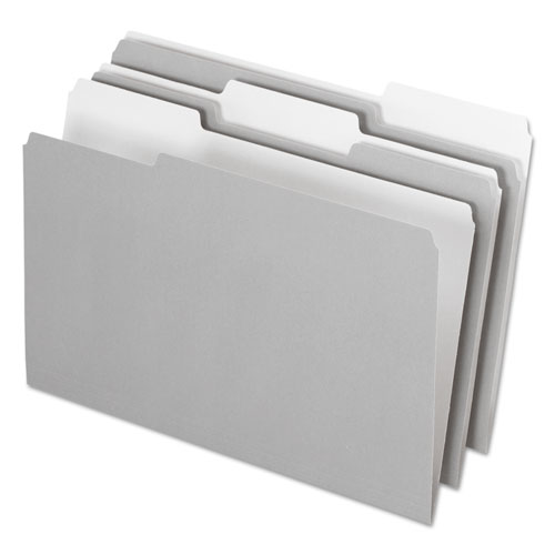 Interior File Folders, 1/3-Cut Tabs, Legal Size, Gray, 100/Box | by Plexsupply